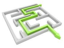 Concetto della soluzione: il percorso verde della freccia che mostra i labirinti si conclude, modo Fotografie Stock