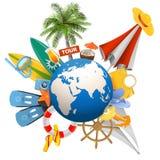 Concetto della spiaggia di vettore con il globo Fotografie Stock