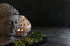 Concetto della stazione termale della candela del witn di Buddah Fotografia Stock