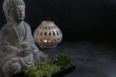 Concetto della stazione termale della candela del witn di Buddah Fotografie Stock Libere da Diritti