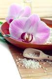 Concetto della stazione termale con sale da bagno e le orchidee fotografia stock