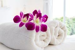 Concetto della stazione termale e dell'orchidea Fotografia Stock Libera da Diritti