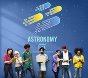 Concetto della stella cadente di astrologia del sistema solare di scienza di astronomia Fotografia Stock Libera da Diritti