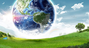 Concetto della terra di ecologia - elementi di questa immagine ammobiliati dalla NASA fotografia stock