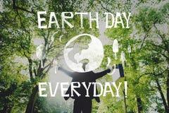 Concetto della terra di risparmi di ecologia di giornata per la Terra immagini stock libere da diritti