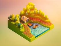 Concetto della terra verde nella vista isometrica royalty illustrazione gratis
