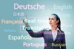 Concetto della traduzione online dalla lingua straniera immagine stock