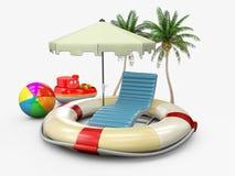 Concetto della vacanza estiva con gli accessori della spiaggia e di salvagente, illustrazione 3d illustrazione di stock