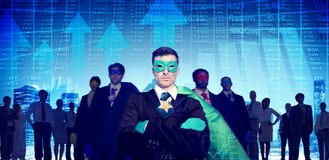 Concetto delle azione del mercato azionario di coraggio di aspirazioni del supereroe Fotografia Stock