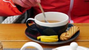 Concetto delle bevande e della gente - la mano della donna di A mescola lo zucchero in una tazza di tè, primo piano archivi video