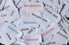 Concetto delle carte casuali stampate con nutrizione di parole, dieta, esercizio, minerali, dieta di arresto, metabolismo immagine stock libera da diritti