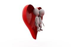 concetto delle coppie del cuore dell'uomo 3d Immagine Stock