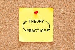 Concetto delle frecce di pratica di teoria sulla nota appiccicosa immagine stock