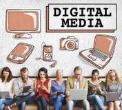 Concetto delle icone della rete sociale di media di Digital Fotografia Stock