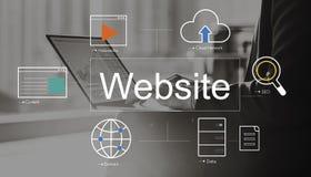 Concetto delle icone di ricerca del giocatore del mondo del sito Web Fotografia Stock