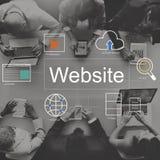 Concetto delle icone di ricerca del giocatore del mondo del sito Web Immagini Stock Libere da Diritti