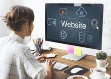 Concetto delle icone di ricerca del giocatore del mondo del sito Web Immagine Stock