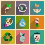 Concetto delle icone piane con ecologia lunga dell'ombra Immagine Stock