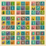 Concetto delle icone piane con ecologia lunga dell'ombra Fotografie Stock Libere da Diritti