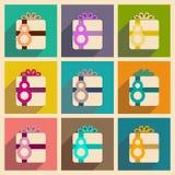 Concetto delle icone piane con ombra lunga Women& x27; regalo di giorno di s royalty illustrazione gratis