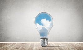 Concetto delle innovazioni di Eco per mezzo della lampadina Fotografie Stock Libere da Diritti