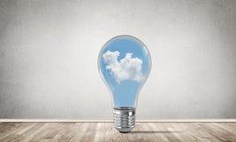 Concetto delle innovazioni di Eco per mezzo della lampadina Immagini Stock