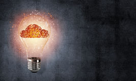 Concetto delle innovazioni di Eco per mezzo della lampadina Fotografia Stock