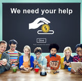 Concetto delle mani amiche di assistenza sociale di donazioni dei soldi Immagine Stock Libera da Diritti
