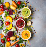 Concetto delle minestre di verdura sane Immagini Stock Libere da Diritti