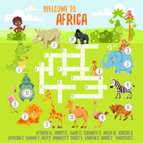Concetto delle parole incrociate del gioco con gli animali dell'Africano del fumetto Fotografie Stock Libere da Diritti