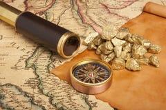 Concetto delle pepite di oro Fotografie Stock