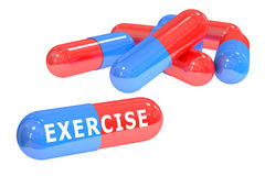 Concetto delle pillole di esercizio, rappresentazione 3D Fotografia Stock Libera da Diritti
