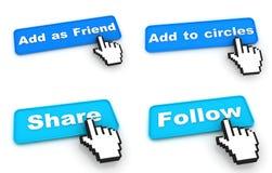 Concetto delle reti sociali - bottoni di web con la mano Fotografia Stock
