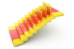 concetto delle scale del nuovo anno 3d Fotografia Stock Libera da Diritti