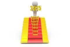 concetto delle scale del nuovo anno dell'uomo 3d Immagini Stock