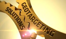 Concetto delle soluzioni di Geotargeting Ingranaggi metallici dorati del dente Fotografie Stock