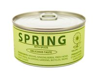 Concetto delle stagioni. Primavera. Barattolo di latta. Immagine Stock