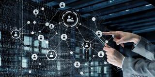 Concetto delle tecnologie sociali del collegamento Media misti Immagini Stock
