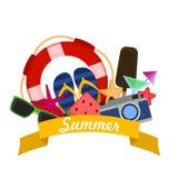 Concetto delle vacanze estive con le icone moderne piane Illustrazione di vettore royalty illustrazione gratis