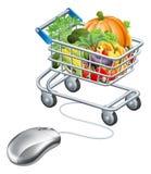 Concetto delle verdure della drogheria del topo del carrello Immagini Stock Libere da Diritti