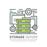 Concetto dello scaffale del software e dell'hardware di rete del server di stoccaggio Fotografia Stock