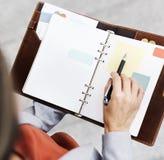 Concetto dello spazio della copia rapporto di Record Writing Notebook della donna di affari fotografia stock libera da diritti