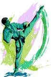 Concetto dello sportivo che fa le arti marziali royalty illustrazione gratis