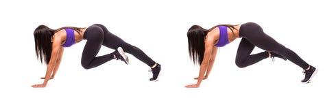 Concetto dello stile di vita sano nell'insieme La donna di bellezza di sport fa gli esercizi di forma fisica delle gambe su fondo Fotografie Stock