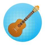 Concetto dello strumento di musica dell'icona della chitarra acustica royalty illustrazione gratis