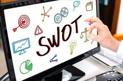 Concetto dello Swot su un monitor del computer Fotografia Stock