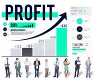 Concetto di accumulazione dei soldi di analisi dei dati di finanza di profitto Immagini Stock Libere da Diritti