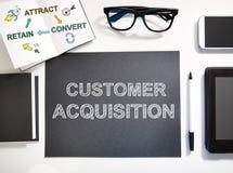 Concetto di acquisizione del cliente con la stazione di lavoro in bianco e nero Fotografia Stock