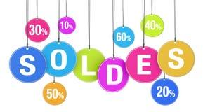 Concetto di acquisto di Soldes Fotografia Stock