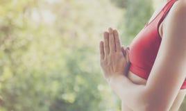 Concetto di addestramento di posa di pratica di yoga della donna fotografia stock libera da diritti